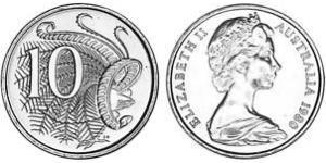 10 Цент Австралия (1939 - ) Никель/Медь Елизавета II (1926-)