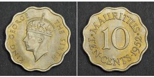 10 Цент Маврикій Нікель/Мідь Георг VI (1895-1952)