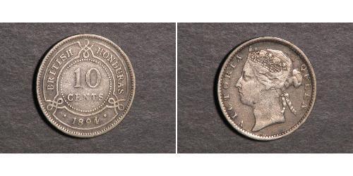 10 Цент Британский Гондурас (1862-1981) Серебро Виктория (1819 - 1901)