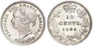 10 Цент Канада Серебро Виктория (1819 - 1901)