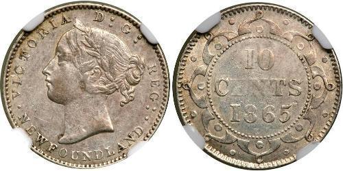 10 Цент Ньюфаундленд и Лабрадор Серебро Виктория (1819 - 1901)