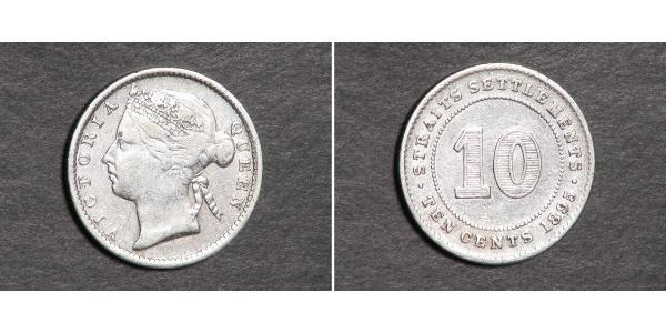 10 Цент Стрейтс-Сетлментс (1826 - 1946) Серебро Виктория (1819 - 1901)