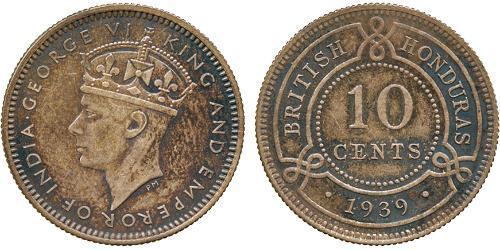 10 Цент Британский Гондурас (1862-1981) Срібло Георг VI (1895-1952)