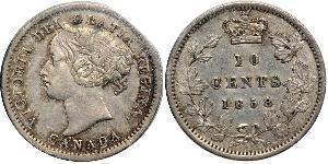 10 Цент Канада Срібло Вікторія (1819 - 1901)