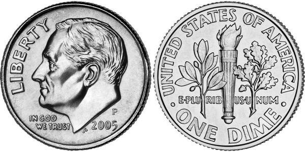 10 Цент / 1 Дайм США (1776 - ) Срібло