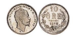 10 Эре Швеция Серебро Оскар I (1799-1859)