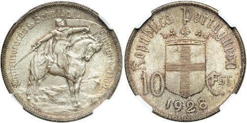 10 Эскудо Portuguese Republic - Ditadura Nacional (1926 - 1933) Серебро