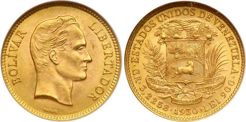 Moneda 10 Bolivar Venezuela Oro 1930 Simon Bolivar (1783 - 1830 ...