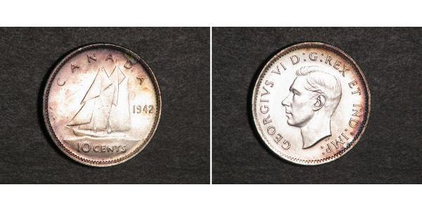 10 Cent 加拿大 銀 乔治六世 (1895-1952)