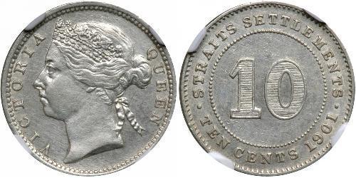 10 Cent Établissements des détroits (1826 - 1946) Argent Victoria (1819 - 1901)