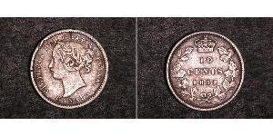 10 Cent Canada Argento Vittoria (1819 - 1901)