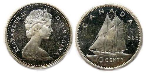 10 Cent Canada Argento Elisabetta II (1926-)