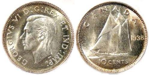 10 Cent Canada Argento Giorgio VI (1895-1952)