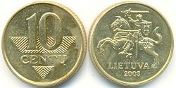 10 Cent Lithuania (1991 - ) Brass/Nickel