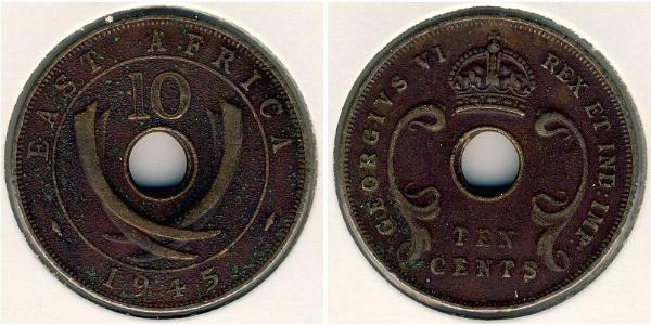 10 Cent East Africa Bronze George VI (1895-1952)