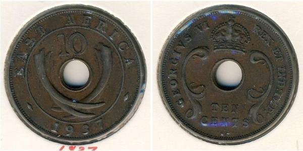 10 Cent East Africa Bronze George VI (1895-1952)