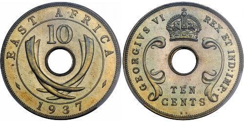 10 Cent Africa orientale Bronzo Giorgio V (1865-1936)