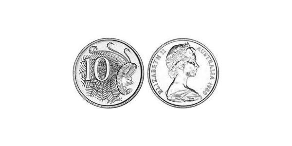 10 Cent Australia (1939 - ) Copper/Nickel Elizabeth II (1926-)