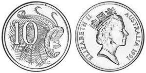 10 Cent Australia (1939 - ) Níquel/Cobre Isabel II (1926-)
