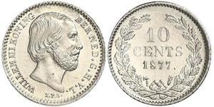10 Cent Reino de los Países Bajos (1815 - ) Plata Guillermo III de los Países Bajos
