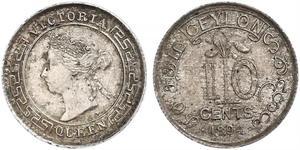 10 Cent Sri Lanka Plata Victoria (1819 - 1901)