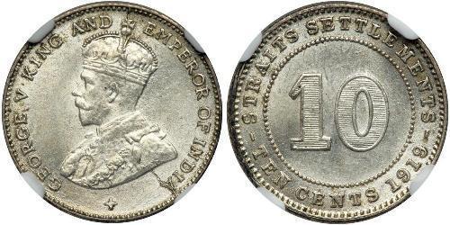 10 Cent Straits Settlements (1826 - 1946) Plata Jorge V (1865-1936)