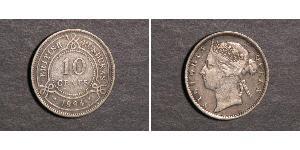10 Cent British Honduras (1862-1981) Silver Victoria (1819 - 1901)