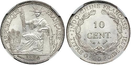10 Cent French Indochina (1887-1954) Silver