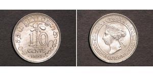 10 Cent Sri Lanka/Ceylon Silver Victoria (1819 - 1901)