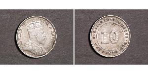 10 Cent Straits Settlements (1826 - 1946) Silver Edward VII (1841-1910)