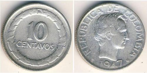 10 Centavo Colombia (1886 - ) Argento