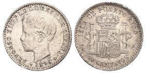 10 Centavo Porto Rico Argento Alfonso XIII of Spain (1886 - 1941)