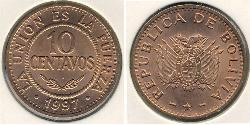10 Centavo Plurinational State of Bolivia (1825 - ) Copper/Nickel