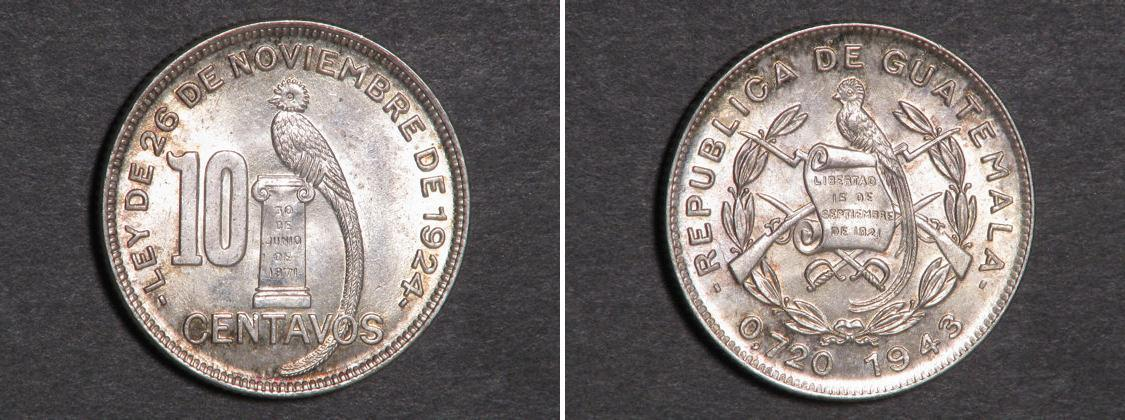 Moneda 10 centavo guatemala 1838 plata 1943 precio - Coin de finition plinthe ...