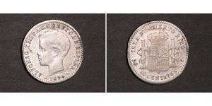 10 Centavo Puerto Rico Plata Alfonso XIII of Spain (1886 - 1941)