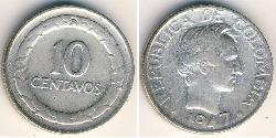10 Centavo Republik Kolumbien  (1886 - ) Silber