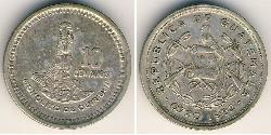 10 Centavo Republic of Guatemala (1838 - ) Silver