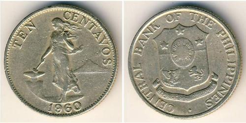 10 Centavo Philippines Tin/Copper/Zinc