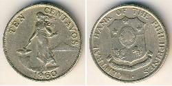 10 Centavo Philippinen Tin/Kupfer/Zink