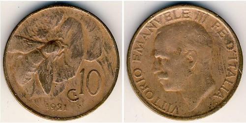 10 Centesimo 意大利王國 (1861-1946) 銅 维托里奥·埃马努埃莱三世 (1869 - 1947)