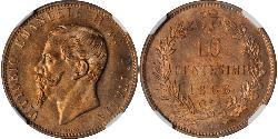 10 Centesimo Kingdom of Italy (1861-1946) Copper Victor Emmanuel II of Italy (1820 - 1878)
