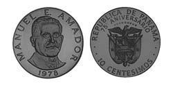 10 Centesimo Republic of Panama Copper/Nickel Manuel Amador Guerrero (1833 – 1909)
