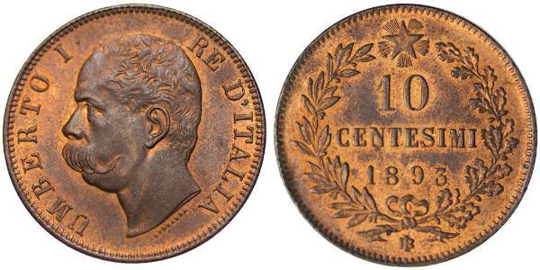 10 Centesimo Kingdom of Italy (1861-1946) Cuivre Umberto I (1844-1900)