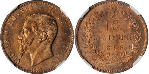 10 Centesimo Kingdom of Italy (1861-1946) Kupfer Victor Emmanuel II of Italy (1820 - 1878)