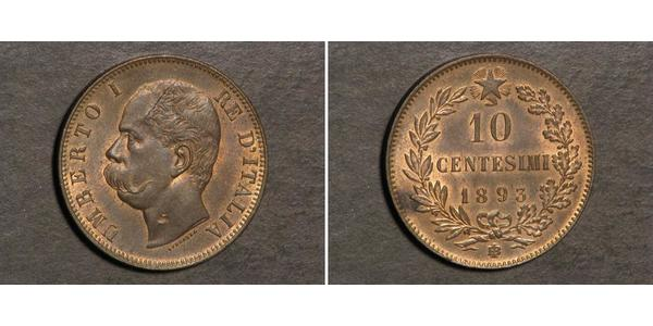 10 Centesimo Kingdom of Italy (1861-1946) Kupfer Umberto I (1844-1900)
