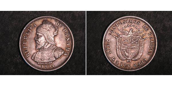 10 Centesimo Panama Silber Vasco Núñez de Balboa (1475 – 1519)