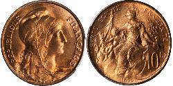 10 Centime Tercera República Francesa (1870-1940)  Bronce