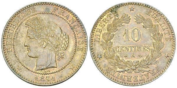 10 Centime Terza Repubblica francese (1870-1940)  Bronzo