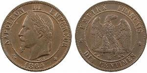 10 Centime Second French Empire (1852-1870) Copper Napoleon III (1808-1873)