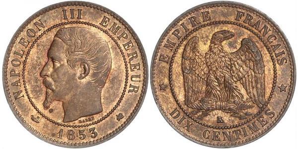 10 Centime Second French Empire (1852-1870) Copper Napoleon III (1808-1873)